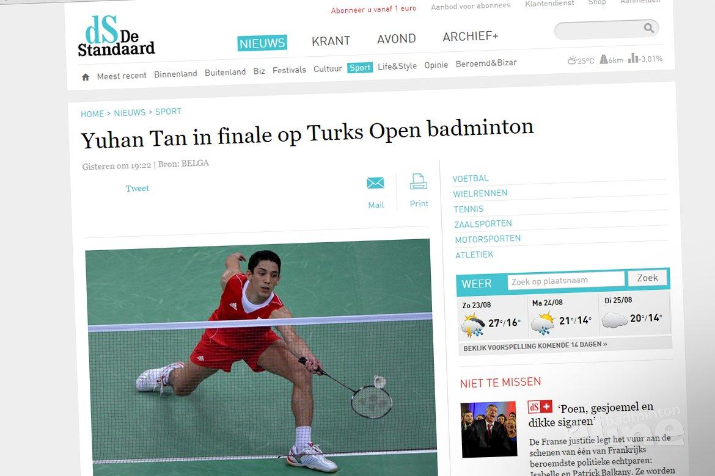 Yuhan Tan in finale op Turks Open badminton