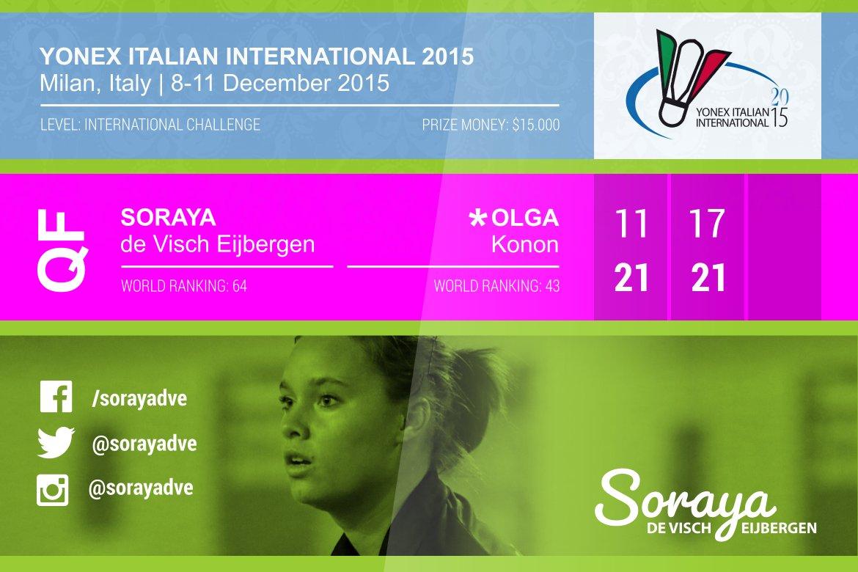 Italian International 2015 ends in quarter final for Soraya de Visch Eijbergen