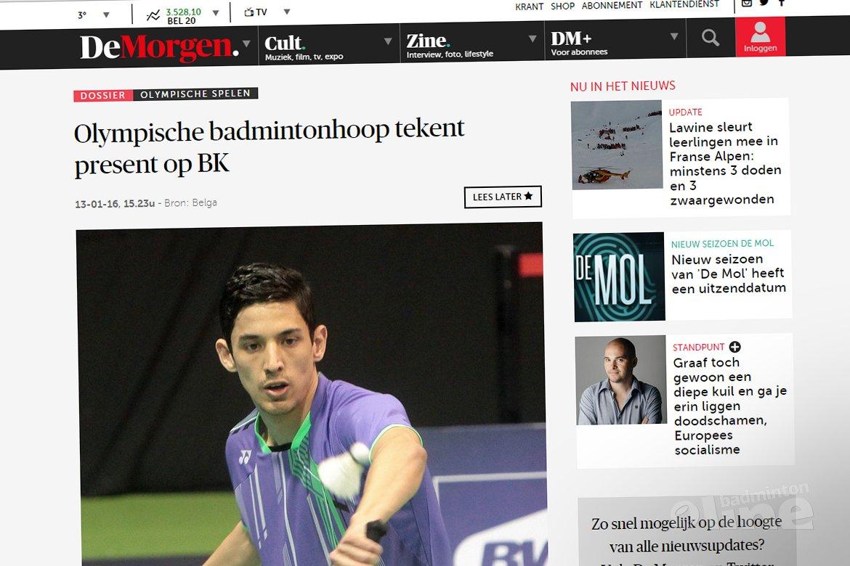 Olympische badmintonhoop tekent present op Belgisch Kampioenschap 2016