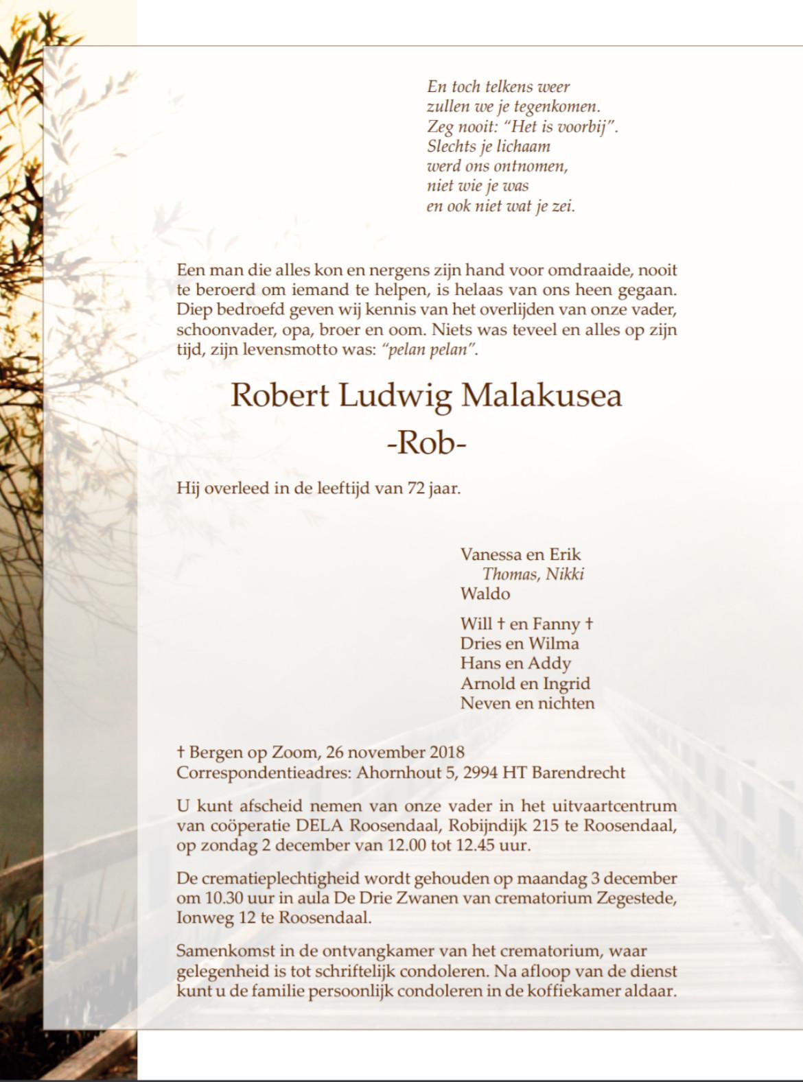 rouwkaart Rob Malakusea